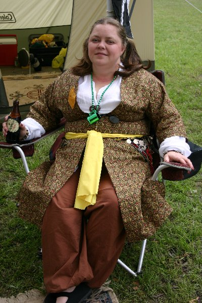 THLady Aislinn Chaomhanach ready to party at  Fool's War in April A.S. XXXIX (2005)