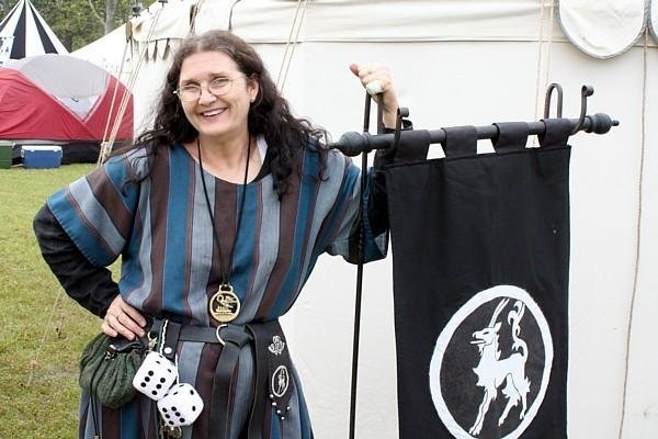 Bronwen in front of her tent at Fool's War in April of A.S. XLIII (2009)