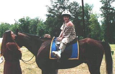 Cecilia de Lessay on Horseback at Foll's War in April A.S. XXXVIII (2004)