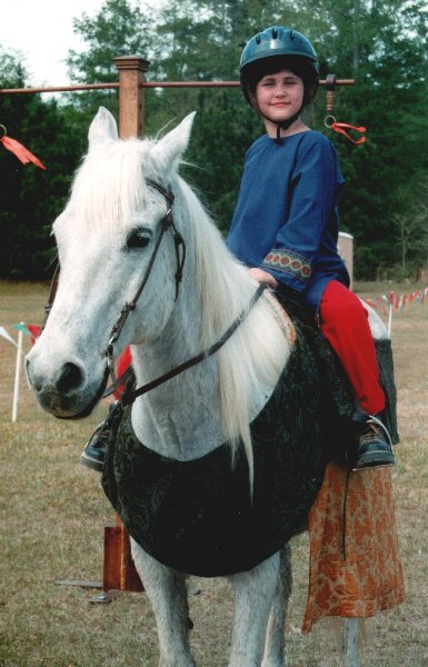 Cecilia de Lessay on horseback again at  Fool's War in April A.S. XXXIX (2005)
