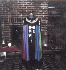 A bad photo of The Bardic Cloak we made and donated to the Kingdom in A.S. XXXII (1998)
