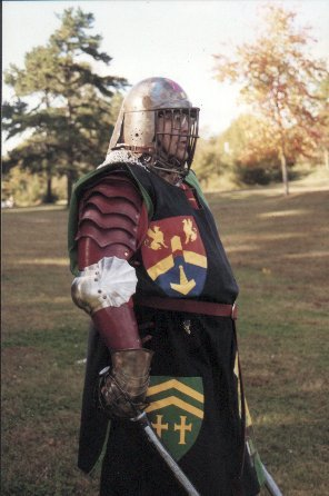 Lord Etienne Dubois at a Pine Log Park fighter practice in the summer of A.S. XXXI (1997)