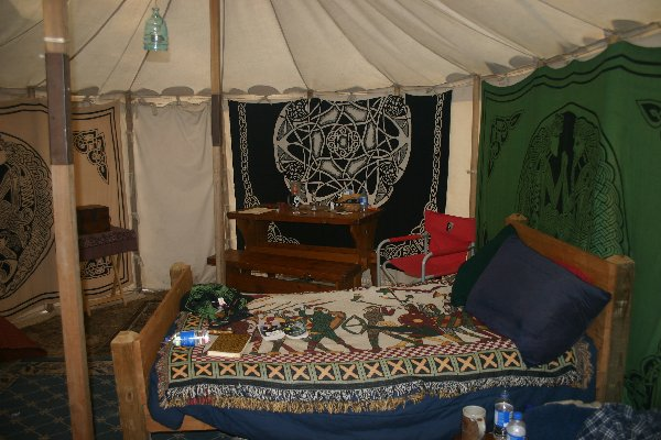 The Interior of Meistres Bronwen o Gydweli's tent at Gulf Wars XVII in March of A.S. XLII (2008)