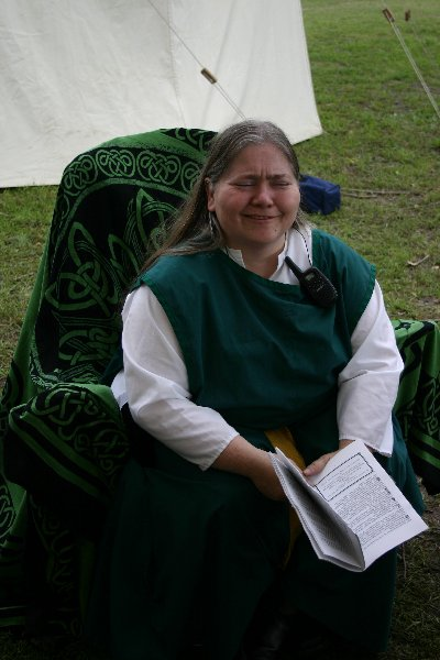Lady Magy McTerlach takes a break at  Fool's War in April A.S. XXXIX (2005)