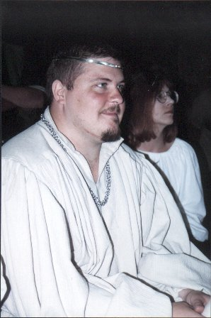 Lord Valamir von Straubing at Champion's List V in A.S. XXXIII (1998) after receiving his AOA